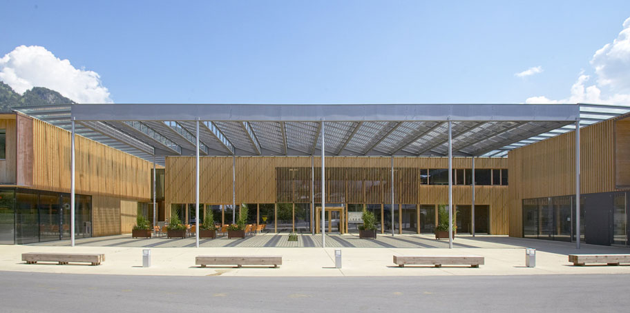 a public center built in wood and pv cells, austria
